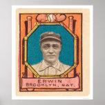Tex Erwin Dodgers Baseball 1911 Poster
