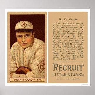 Tex Erwin Dodgers Baseball 1912 Poster