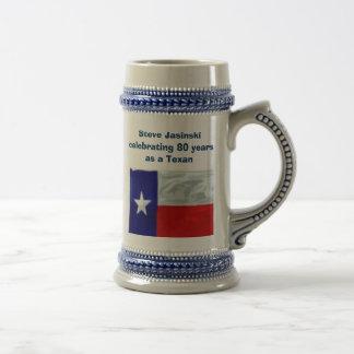 Texan de 80 años jarra de cerveza