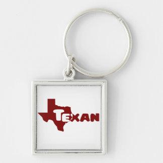 Texan Llavero Cuadrado Plateado
