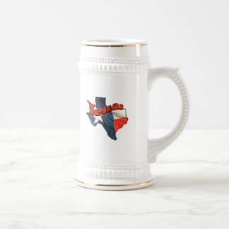 Texan Lone Star State retro flag map of Texas Beer Stein