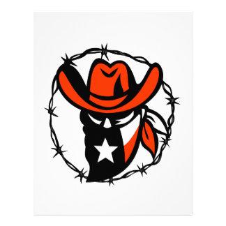 Texan Outlaw Texas Flag Barb Wire Icon Letterhead