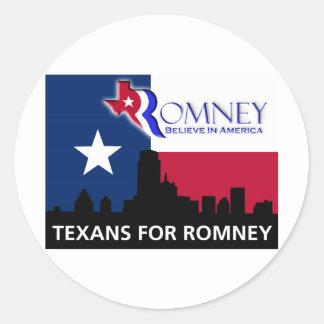 Texans for Mitt Romney Classic Round Sticker