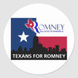 Texans for Romney Classic Round Sticker