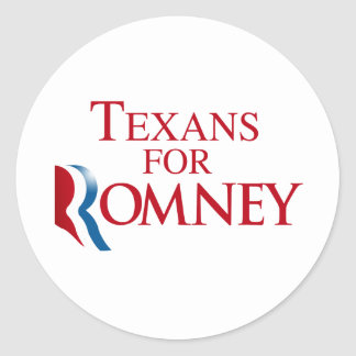 TEXANS FOR ROMNEY.png Classic Round Sticker