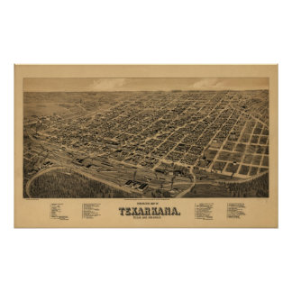 Texarkana 1888 Antique Panoramic Map Print