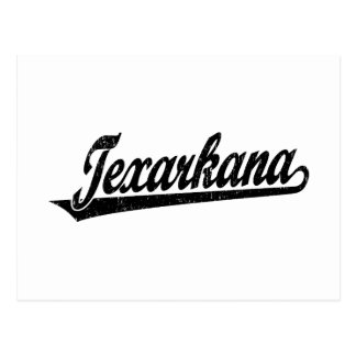 Texarkana script logo in black distressed postcard