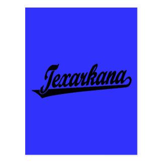 Texarkana script logo in black postcard