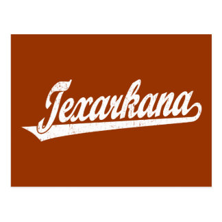Texarkana script logo in white distressed postcard