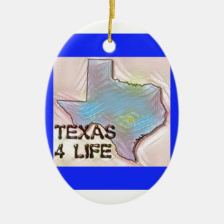 """Texas 4 Life"" State Map Pride Design Ceramic Ornament"