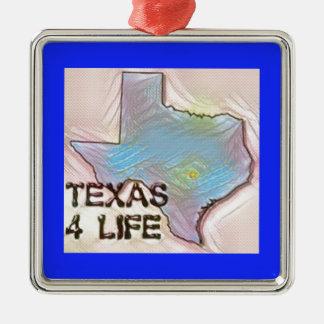 """Texas 4 Life"" State Map Pride Design Metal Ornament"