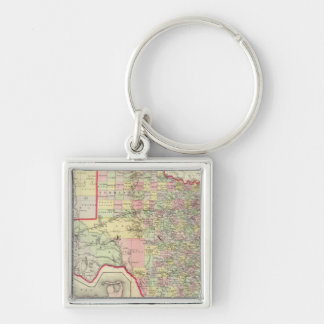 Texas 7 Silver-Colored square keychain