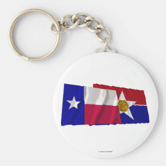Texas and Dallas Flags Basic Round Button Keychain
