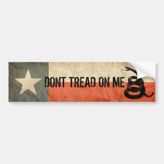 Texas and Don't Tread on Me Flag Together Bumper Sticker