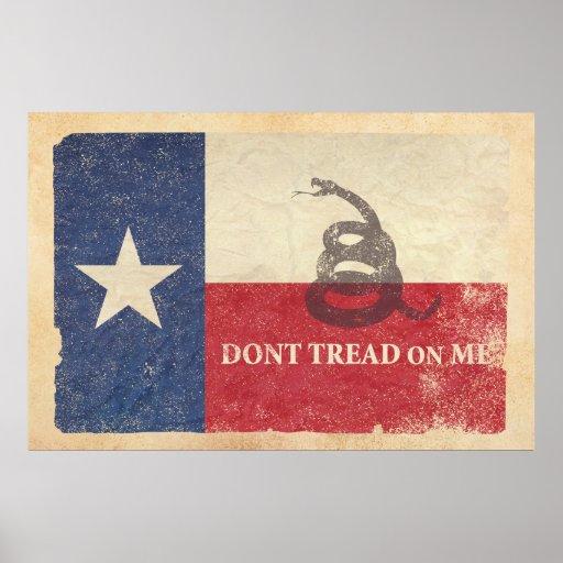 Texas and Gadsden Flag Poster