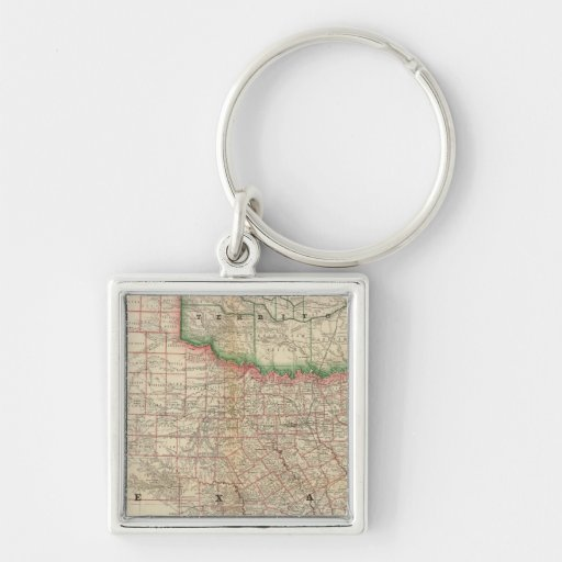 Texas and Indian Territory Silver-Colored Square Keychain