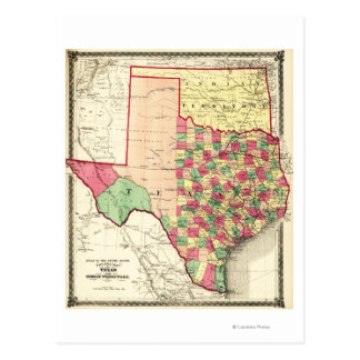 Texas and Indian TerritoryPanoramic Map Post Card