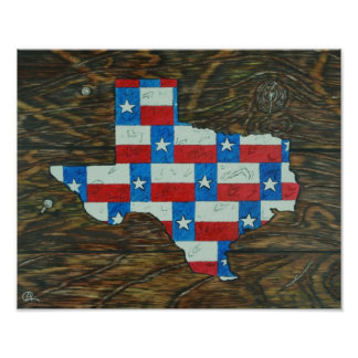 Texas and State of Texas Flag Poster