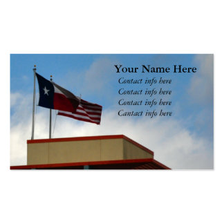 Texas and United States Flag on Tower Business Card Template