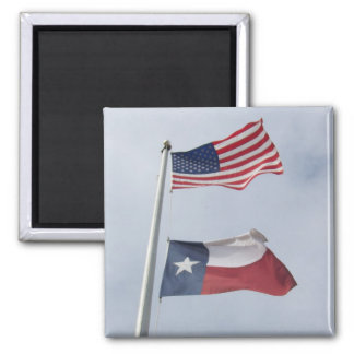 Texas and United States Flag Square Magnet