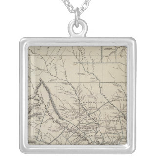 Texas Atlas Map Silver Plated Necklace