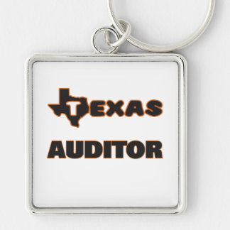 Texas Auditor Silver-Colored Square Keychain