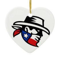 Texas Bandit Cowboy Side Retro Ceramic Ornament