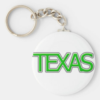 Texas Basic Round Button Keychain