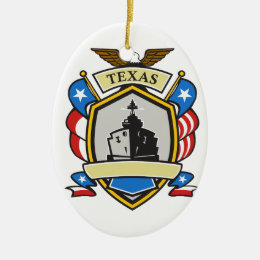 Texas Battleship Emblem Retro Ceramic Ornament