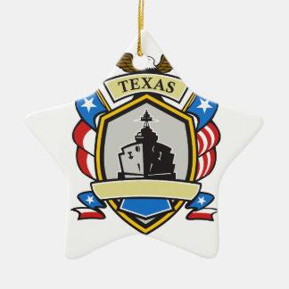 Texas Battleship Emblem Retro Ceramic Ornament