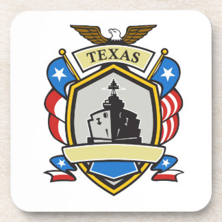 Texas Battleship Emblem Retro Drink Coaster