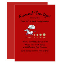 Texas BBQ Family Reunion Cartoon Horse Invitation