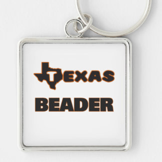 Texas Beader Silver-Colored Square Keychain