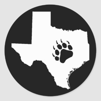 Texas Bear Paw Round Sticker