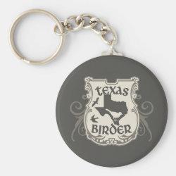 Basic Button Keychain with Texas Birder design