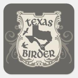 Square Sticker with Texas Birder design