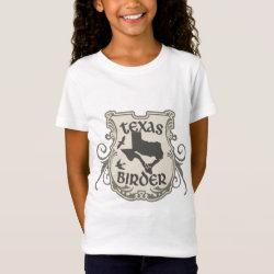 Girls' Fine Jersey T-Shirt with Texas Birder design