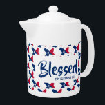 "TEXAS Blessed Christian Scripture MEDIUM Teapot<br><div class=""desc"">Celebrate your TEXAS roots AND your faith, whilst drinking your favourite hot beverage. Outline of the US state of TEXAS in a diagonal tiled pattern, with Scripture reference Ephesians 1:3 (Blessed with every spiritual blessing) . All fully customisable so you can personalise with your own favourite Scripture reference or text...</div>"