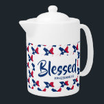 """TEXAS Blessed Christian Scripture MEDIUM Teapot<br><div class=""""desc"""">Celebrate your TEXAS roots AND your faith, whilst drinking your favourite hot beverage. Outline of the US state of TEXAS in a diagonal tiled pattern, with Scripture reference Ephesians 1:3 (Blessed with every spiritual blessing) . All fully customisable so you can personalise with your own favourite Scripture reference or text...</div>"""