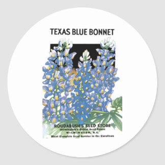 Texas Blue Bonnet, Roudabush's Seed Store Classic Round Sticker