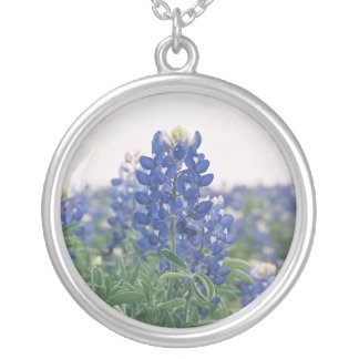 Texas Bluebonnet Silver Plated Necklace
