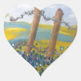 Texas Bluebonnets Heart Sticker