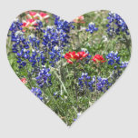 Texas Bluebonnets & Indian Paintbrush Wildflowers Heart Sticker