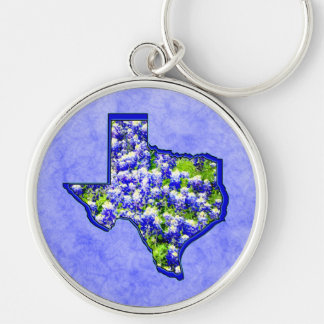 TEXAS BLUEBONNETS Silver-Colored ROUND KEYCHAIN