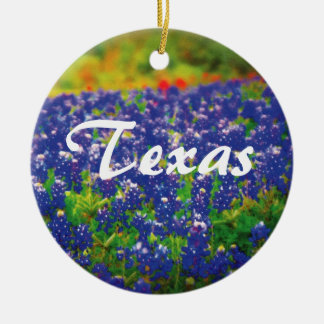 Texas Bluebonnets Double-Sided Ceramic Round Christmas Ornament