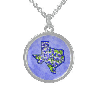 TEXAS BLUEBONNETS STERLING SILVER NECKLACE