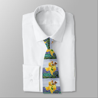 Texas Bluebonnets Yellow Rose Cowgirl Houston Tie