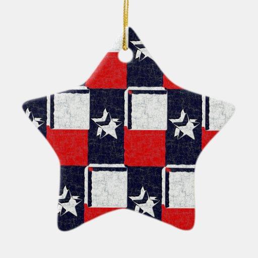 TEXAS BLUR DESIGN Double-Sided STAR CERAMIC CHRISTMAS ORNAMENT