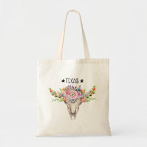 Texas Boho Cow Skull With Flowers Chic Trendy Tote Bag