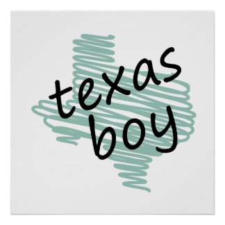 Texas Boy on Child's Texas Map Drawing Posters